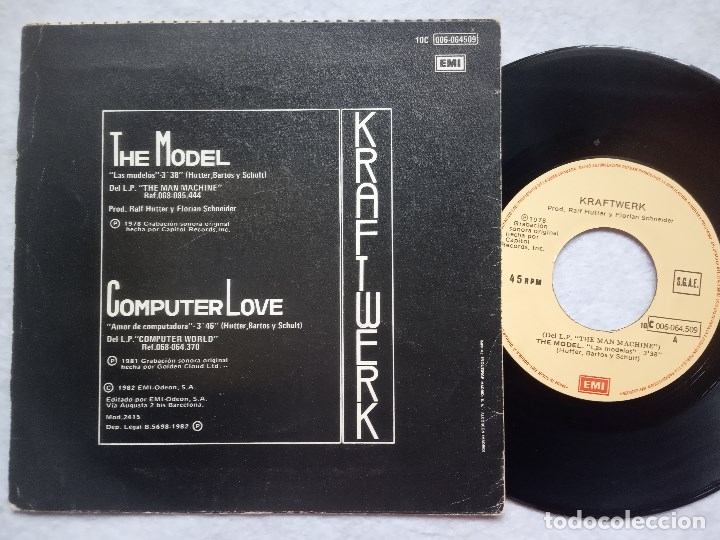 Discos de vinilo: KRAFTWERK - las modelos (the model) / computer love - SINGLE 1982 - EMI - Foto 2 - 182986137