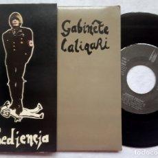 Discos de vinilo: GABINETE CALIGARI - OBEDIENCIA - SINGLE PORTADA DOBLE 1982 - 3 CIPRESES. Lote 182989457