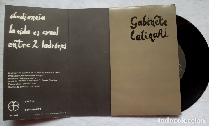 Discos de vinilo: GABINETE CALIGARI - obediencia - SINGLE PORTADA DOBLE 1982 - 3 CIPRESES - Foto 3 - 182989457