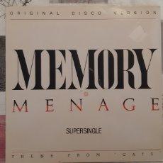 Discos de vinilo: MEMORY. MENAGE. CARRERE. ESPAÑA. 1983. 45RPM. VG++. Lote 183009540