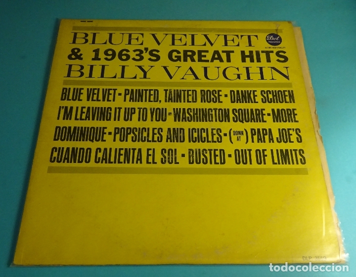 BILLY VAUGHN. BLUE VELVET & 1963'S GREAT HITS. DOT RECORDS (Música - Discos - LP Vinilo - Orquestas)