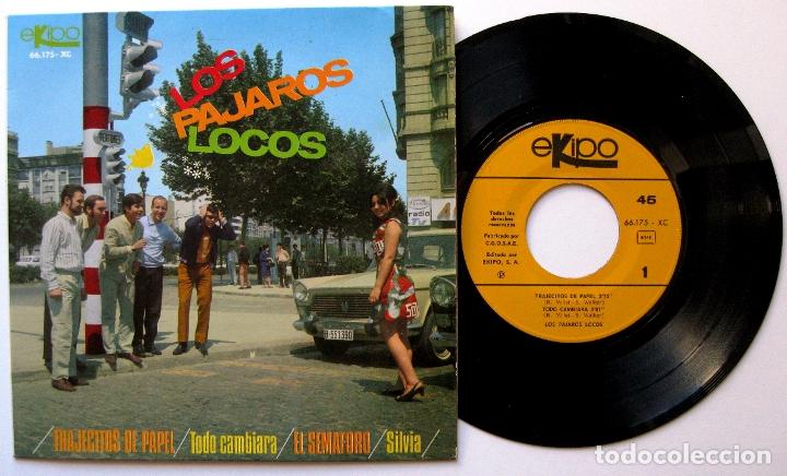 LOS PÁJAROS LOCOS - TRAJECITOS DE PAPEL +3 - EP EKIPO 1967 BPY (Música - Discos de Vinilo - EPs - Grupos Españoles 50 y 60)