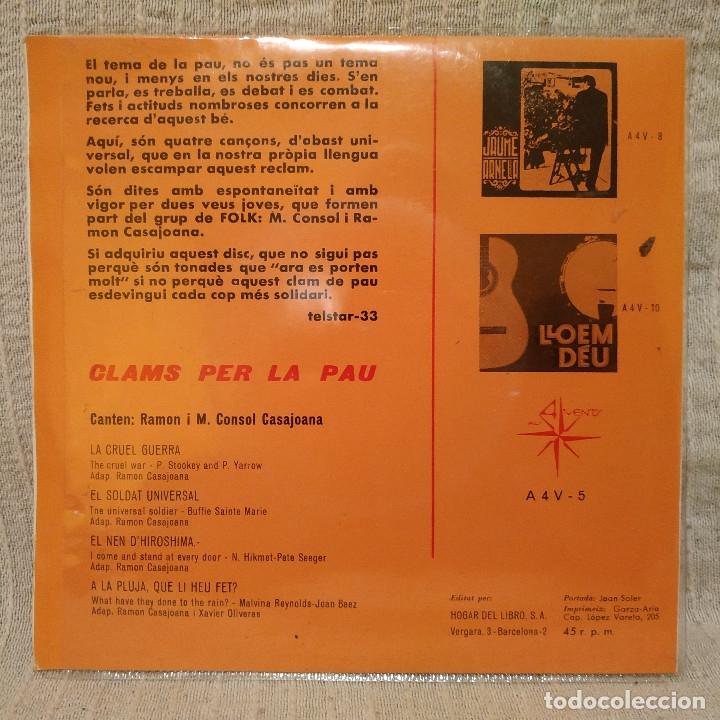Discos de vinilo: RAMON I M. CONSOL CASAJOANA ( DEL GRUP DE FOLK ) - CLAMS PER LA PAU EP 1967 - CON EL INSERTO - NUEVO - Foto 2 - 183180481