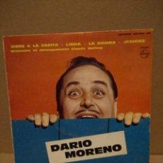 Discos de vinilo: EP DARIO MORENO : VIENS A LA CASITA (ORCHESTRE CLAUDE BOLLING ). Lote 183185030