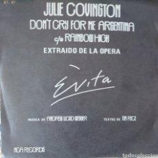 Discos de vinilo: JULIE COVINGTON DE LA ÓPERA EVITA SINGLE SELLO MCA EDITADO EN ESPAÑA AÑO 1976 PROMOCIONAL.. Lote 183191856
