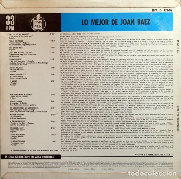 Discos de vinilo: LP Joan Baez – Lo Mejor De Joan Baez - Foto 2 - 183267945