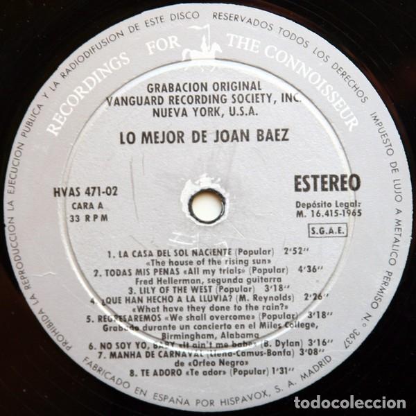 Discos de vinilo: LP Joan Baez – Lo Mejor De Joan Baez - Foto 3 - 183267945
