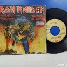 Discos de vinilo: SINGLE DISCO VINILO IRON MAIDEN THE NUMBER OF THE BEAST EL NUMERO DE LA BESTIA. Lote 183304160
