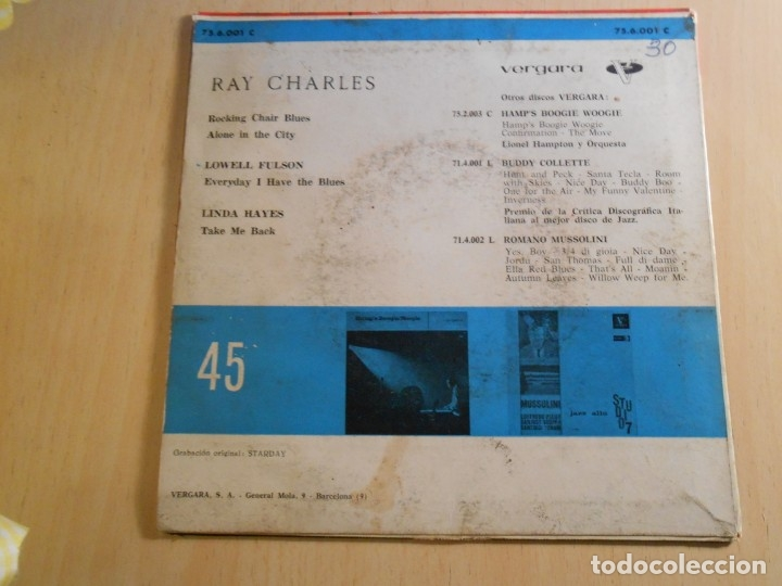 Discos de vinilo: RAY CHARLES, EP, ROCKING CHAIR BLUES + 3, AÑO 1963 - Foto 2 - 183304166