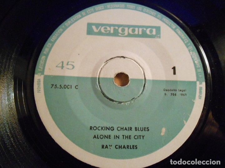 Discos de vinilo: RAY CHARLES, EP, ROCKING CHAIR BLUES + 3, AÑO 1963 - Foto 3 - 183304166