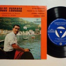 Discos de vinilo: EP: CARLOS FAGOAGA - BI MAITETASUN + POZEZ BILDURRAK + CHORI GASHUA + 1 (COLUMBIA, 1963) EUSKERA. Lote 183322233
