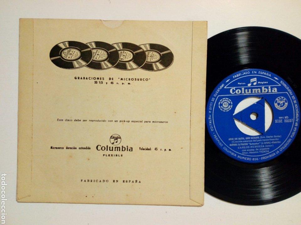 Discos de vinilo: EP: CARLOS MUNGUIA - Canciones Vascas: Oh! Euskal Erri Maitea + Nik Badut Maiteñobat (Columbia 1962) - Foto 2 - 183322860