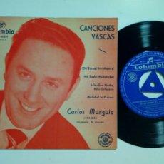 Discos de vinilo: EP: CARLOS MUNGUIA - CANCIONES VASCAS: OH! EUSKAL ERRI MAITEA + NIK BADUT MAITEÑOBAT (COLUMBIA 1962). Lote 183322860