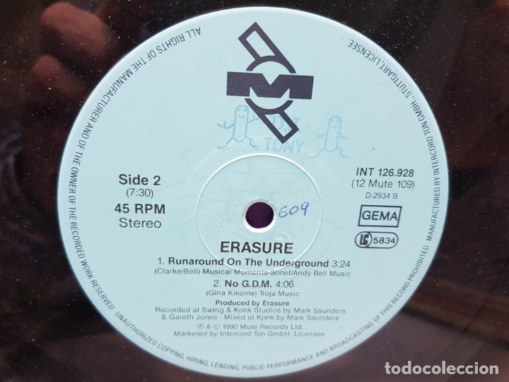 Discos de vinilo: MAXISINGLE -ERASURE-BLUE SAVANNAH en funda original 1990 - Foto 4 - 183330392