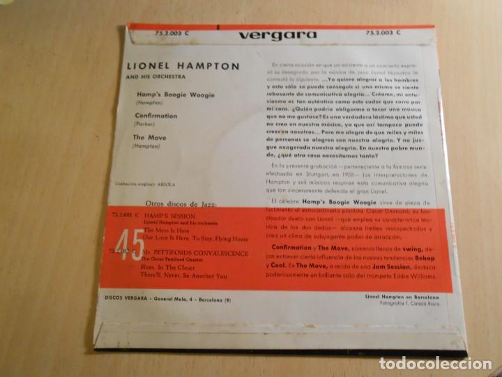 Discos de vinilo: LIONEL HAMPTON and his Orchestra, EP, HAMP´S BOOGIE WOOGIE + 2, AÑO 1962 - Foto 2 - 183360492