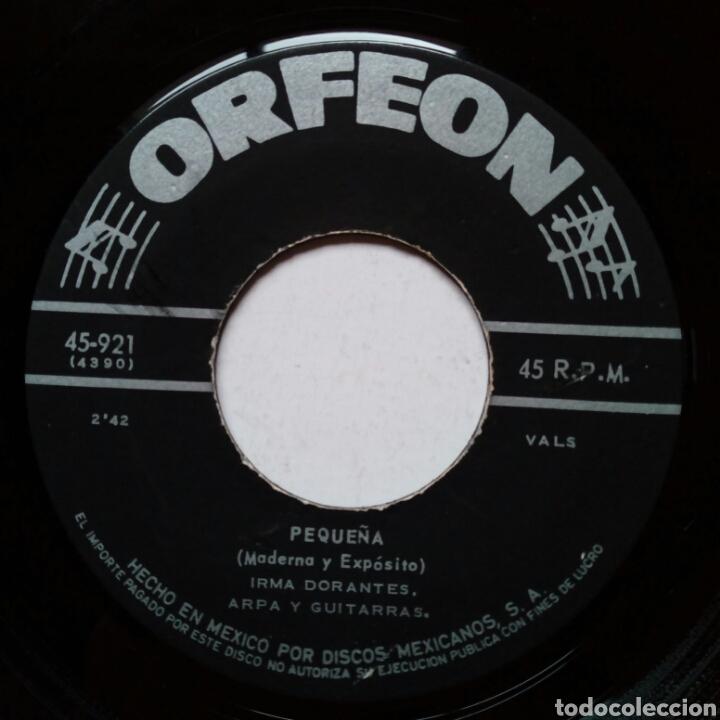 Discos de vinilo: IRMA DORANTES - Pequeña + Que Me Perdone Dios (Orfeon, 50s-60s) - sin carátula - - Foto 5 - 183379093