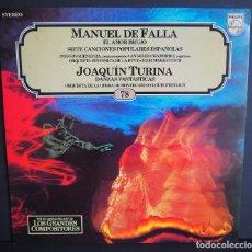 Discos de vinilo: MANUEL DE FALLA. JOAQUIN TURINA. LOS GRANDES COMPOSITORES DE SALVAT. 1982. Lote 183382927