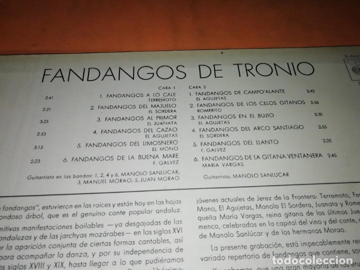Discos de vinilo: LP DE VINILO DE FANDANGOS DE TRONIO MUY BUEN ESTADO . ESPECIAL COLECCIONISTAS. CBS 1970 - Foto 3 - 183407571