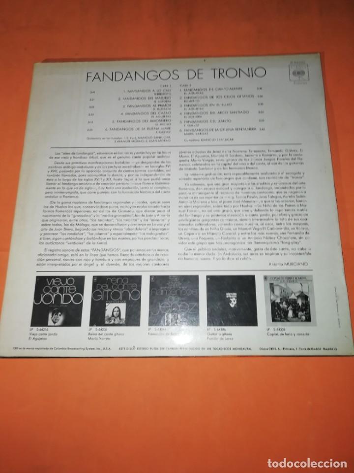 Discos de vinilo: LP DE VINILO DE FANDANGOS DE TRONIO MUY BUEN ESTADO . ESPECIAL COLECCIONISTAS. CBS 1970 - Foto 2 - 183407571