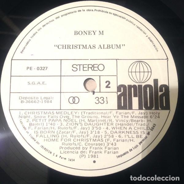 Discos de vinilo: LP promo Boney M. – Christmas Album - Foto 2 - 183414298
