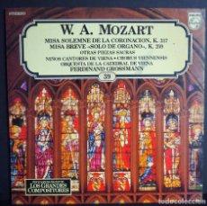 Discos de vinilo: W.A. MOZART. MISA SOLEMNE DE LA CORONACION. MISA BREVE. LOS GRANDES COMPOSITORES DE SALVAT. 1982. Lote 183416452