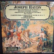 Discos de vinilo: JOSEP HAYDN. CONCIERTO PARA VIOLONCHELO EN RE MAYOR. LOS GRANDES COMPOSITORES DE SALVAT. 1982. Lote 183417681