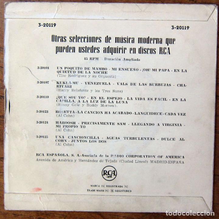 Discos de vinilo: LOS CINCO -SILBANDO AL TRABAJAR - CONTORNO / JUGANDO CON LA ARENA -ESTARÉ EN ESCOCIA - SHORTY ROGERS - Foto 2 - 183417713