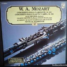 Discos de vinilo: W.A. MOZART.CONCIERTO PARA CLARINETE Y C. PARA FLAUTA Y ARP LOS GRANDES COMPOSITORES DE SALVAT. 1982. Lote 183418141
