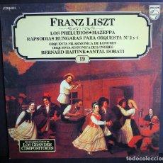 Discos de vinilo: FRANZ LISZT. LOS PRELUDIOS. MAZEPPA. RAPSODIAS HUNGARAS. LOS GRANDES COMPOSITORES DE SALVAT. 1982. Lote 183420212
