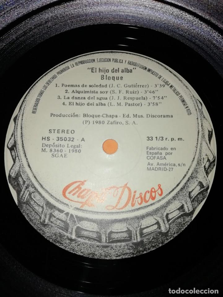 Discos de vinilo: BLOQUE - EL HIJO DEL ALBA . CHAPA - 1980 - Foto 6 - 183463412