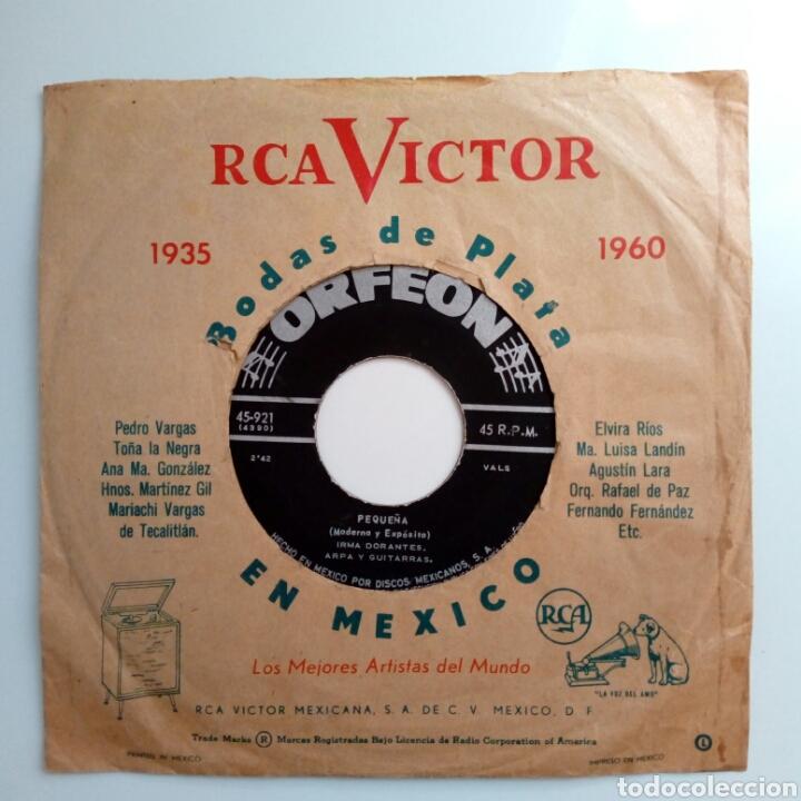 Discos de vinilo: IRMA DORANTES - Pequeña + Que Me Perdone Dios (Orfeon, 50s-60s) - sin carátula - - Foto 2 - 183379093