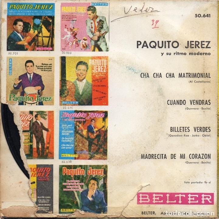Discos de vinilo: PAQUITO JEREZ - BILLETES VERDES + 3 EP.S - Foto 2 - 183483607