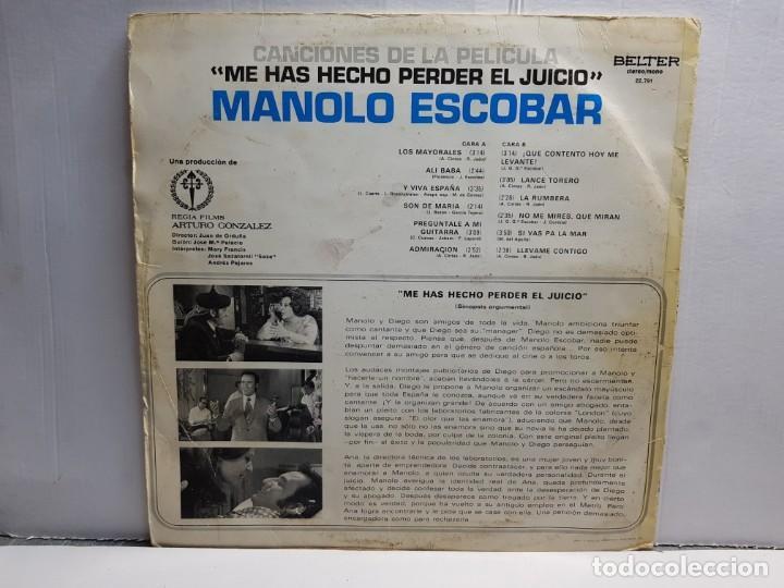 Discos de vinilo: LP-MANOLO ESCOBAR-ME HAS HECHO PERDER EL JUICIO en funda original año 1973 - Foto 2 - 183486087
