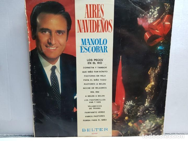 LP-MANOLO ESCOBAR-AIRES NAVIDEÑOS EN FUNDA ORIGINAL AÑO 1970 (Música - Discos - LP Vinilo - Solistas Españoles de los 70 a la actualidad)