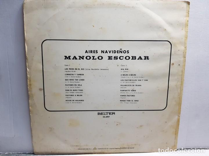 Discos de vinilo: LP-MANOLO ESCOBAR-AIRES NAVIDEÑOS en funda original año 1970 - Foto 2 - 183486238