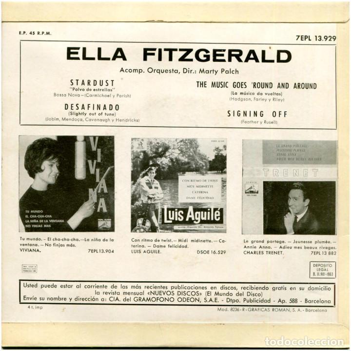 Discos de vinilo: Ella Fitzgerald (Marty Paich) – Stardust - Ep Spain 1963 - 7EPL 13.929 - Foto 2 - 183495303