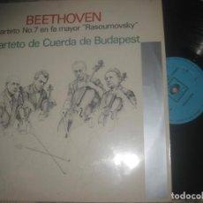 Discos de vinilo: BEETHOVEN CUARTO NO7 EN FA MAYOR CUARTEO DE CUERDA DE BUDAPEST CBS-1963) OG ESPAÑA LEA DESCRIPCION. Lote 183498657