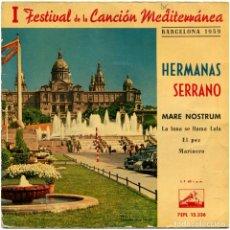 Discos de vinilo: HERMANAS SERRANO - I FESTIVAL DE LA CANCIÓN MEDITERRÁNEA - BARCELONA 1959 . Lote 183501096