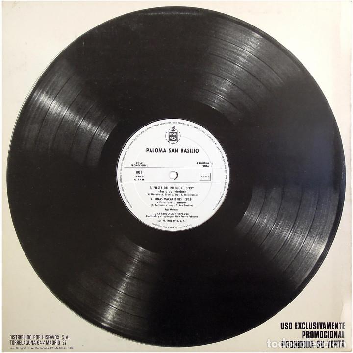 Discos de vinilo: Paloma San Basilio - Bailando - Mx Promo Spain 1983 - Hispavox ?001 - Foto 2 - 183512696