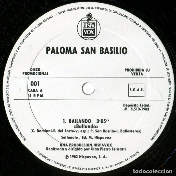 Discos de vinilo: Paloma San Basilio - Bailando - Mx Promo Spain 1983 - Hispavox ?001 - Foto 3 - 183512696