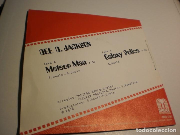 Discos de vinilo: single. dee d. jackson. meteor man. galaxi police. sauce 1978 spain (probado y bien, seminuevo) - Foto 2 - 183514216