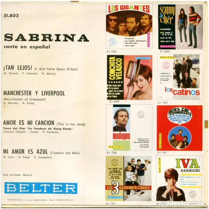 Discos de vinilo: Sabrina - Canta En Español - Ep Spain 1967 - Belter 51.802 - Foto 2 - 183519846