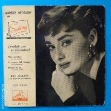 Discos de vinilo: AUDREY HEPBURN EN SABRINA - EP SPAIN PS - EX * RAY MARTIN Y ORQUESTA . Lote 183521793