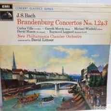 Discos de vinilo: LP-JOHAN SEBASTIAN BACH-BRANDERBURG 1,2 Y 3 EN FUNDA ORIGINAL AÑO 1969. Lote 183552945