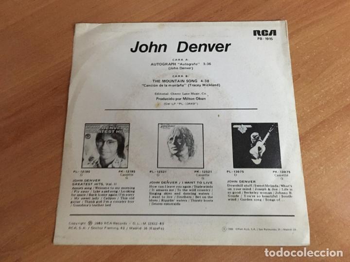 Discos de vinilo: JOHN DENVER (AUTOGRAPH) SINGLE SPAIN PROMO 1980 (EPI04) - Foto 3 - 183553593