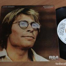 Discos de vinilo: JOHN DENVER (AUTOGRAPH) SINGLE SPAIN PROMO 1980 (EPI04). Lote 183553593