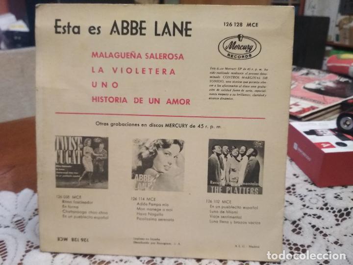 Discos de vinilo: ABBE LANE (MALAGUEÑA SALEROSA+3) EP ESPAÑA 1963 CON LENGUETA PEPETO - Foto 2 - 183618088