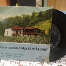Discos de vinilo: AGRUPACION LANGREANA CORO SANTIAGUIN, LAS CAMPANAS DE OLIVARES / FOVENIVOLA / STABAT MATER, EP 1958. Lote 183618500