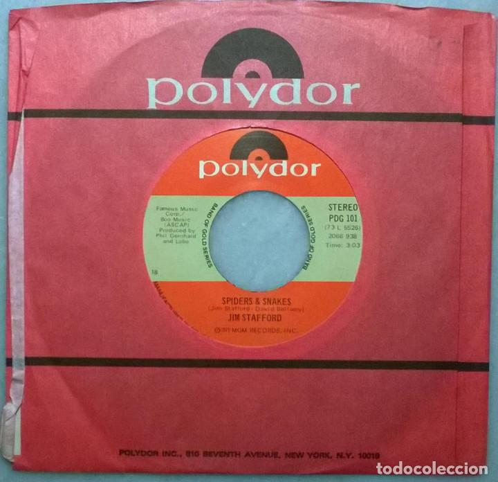 Discos de vinilo: Jim Stafford. Spiders And Snakes/ My Girl Bill. Polydor, USA 1973 RE single - Foto 2 - 183619961