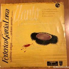 Discos de vinilo: EP PHILIPS GABRIELA ORTEGA RECITA A FEDERICO GARCÍA LORCA.LLANTO POR MUERTE IGNACIO SANCHEZ MEJIAS. Lote 183627332